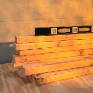 Level on Top of Stack of Lumber